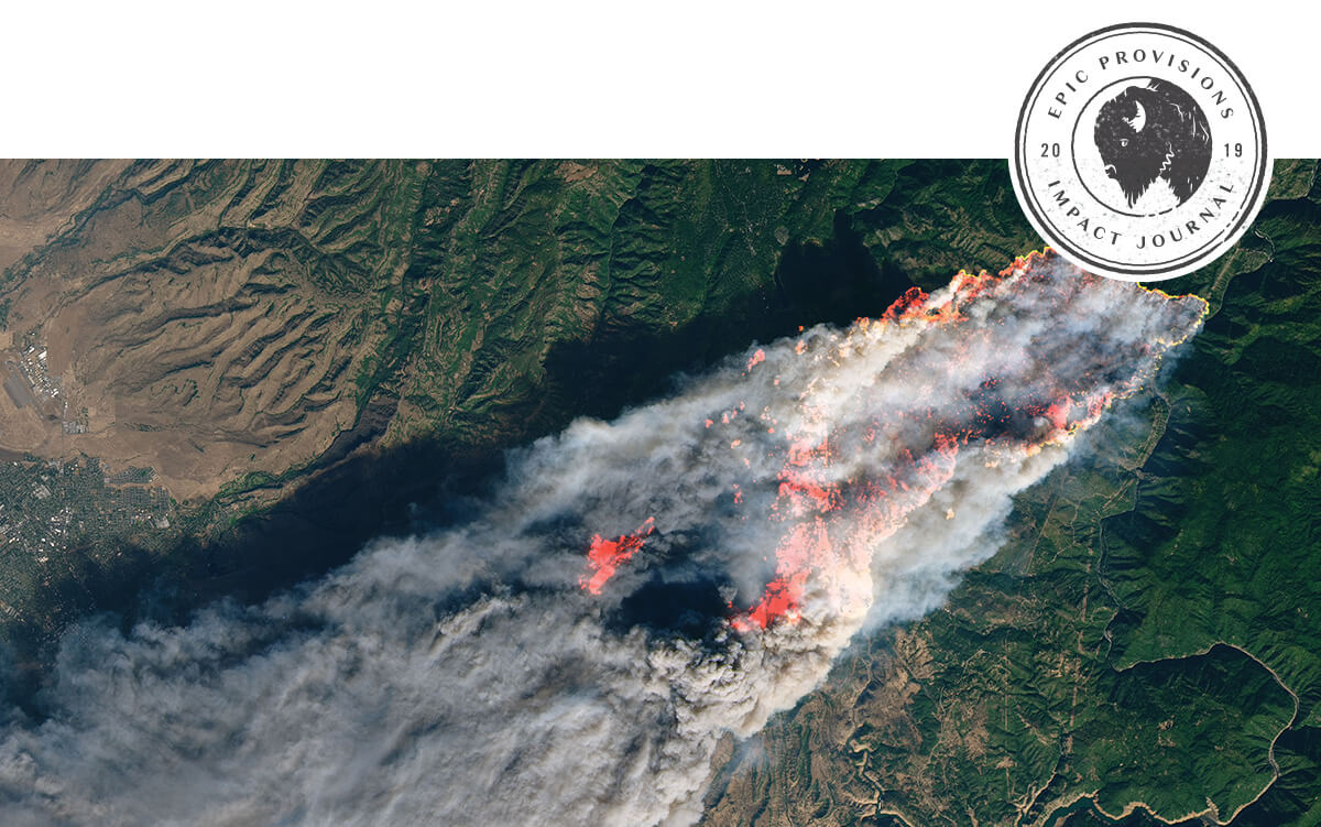 Satellite image showing the size of the Paradise wildfire.