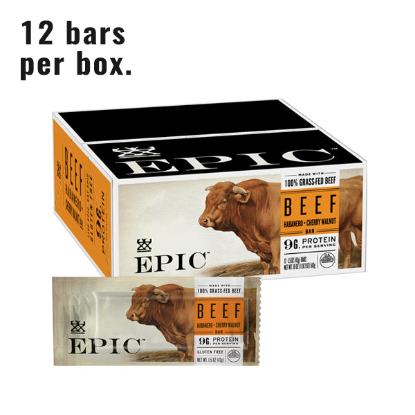 Individual box and unit of Epic's Beef Habanero Cherry Walnut Bar on a white background.