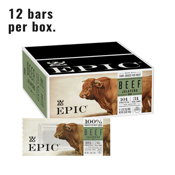 a box of epic beef jalapeno bars with a single beef jalapeno bar in front of it on a white background