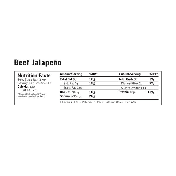 An image of the nutrition facts for EPIC's Beef Jalapeno Bar