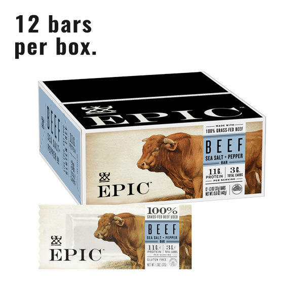 Epic Beef Sea Salt Pepper Bar Caddy with a Beef Sea Salt Pepper bar on a white background.