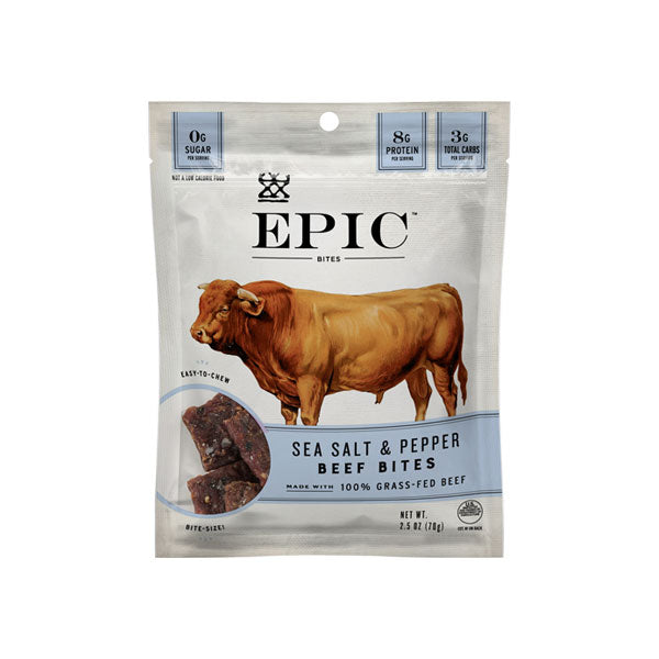 A single bag of epic beef sea salt and pepper bites on a white background.