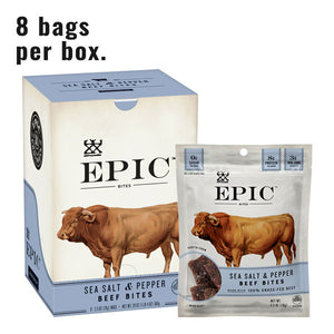 A box of epic beef sea salt and pepper bites next to a single bag of epic beef sea salt and pepper bites on a white background with text reading 8 bags per box.