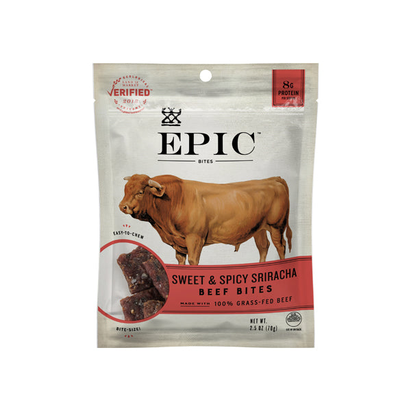Individual bag of Epic's Sweet and Spicy Sriracha Beef Bites on a white background.