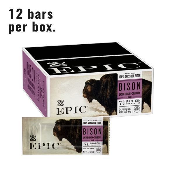 Individual box and unit of Epic's Grassfed Bison Bacon Cranberry bar on a white background