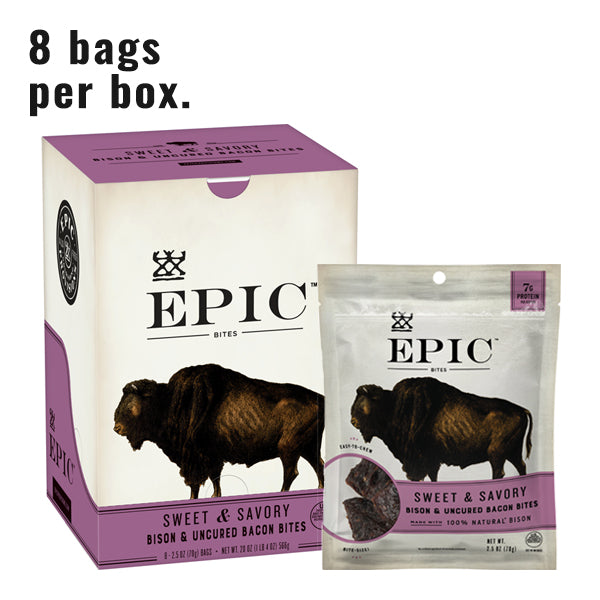 Individual box and bag of Epic's Sweet and Savory Bison Bites on a white background.