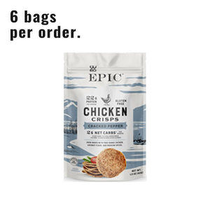 Single bag of EPIC's Cracked Pepper Chicken Crisps on a white background.