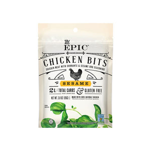 Individual bag of Epic's Chicken Sesame Topper Bits on a white background.