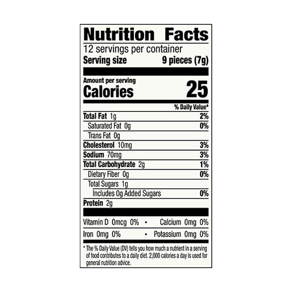 An image of the nutrition facts for EPIC's Chicken Sesame Bits