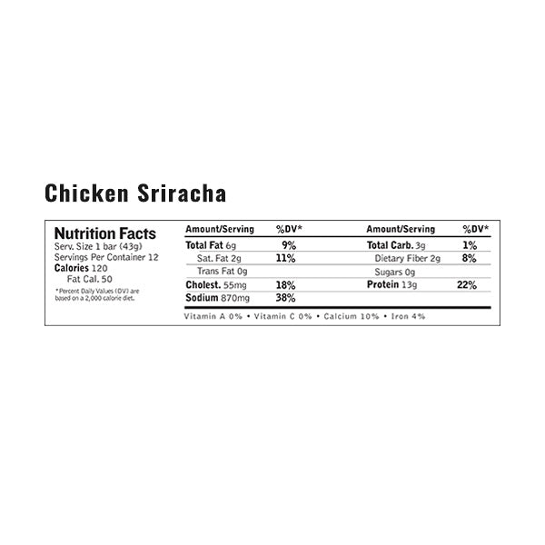 An image of the nutrition facts for EPIC's Chicken Sriracha Bar