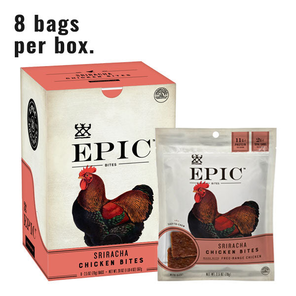 A box of epic chicken sriracha bites next to a single bag of epic chicken sriracha bites on a white background with text reading 8 bags per box.