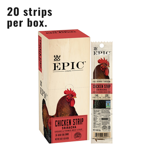 single box of chicken sriracha snack strips next to a single chicken sriracha snack strip on a white background