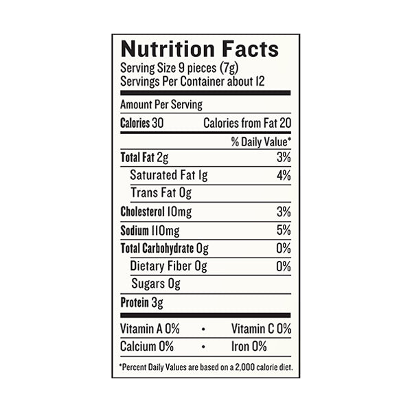 An image of the nutrition facts for EPIC's Hickory Bacon Bits