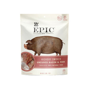 Individual bag of Epic's Hickory Smoked Bacon Bites on a white background.