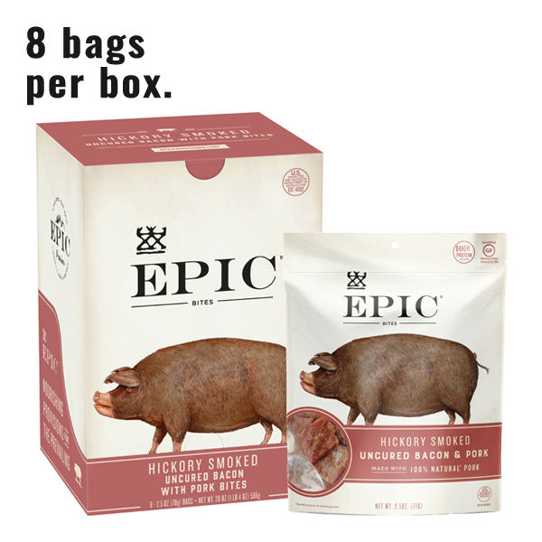 Individual box and bag of Epic's Hickory Smoked Bacon Bites on a white background.