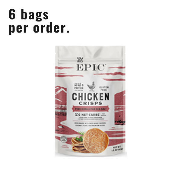 A single pouch of Epic Provision's Pink Himalayan Sea Salt Chicken Crisps on a white background.
