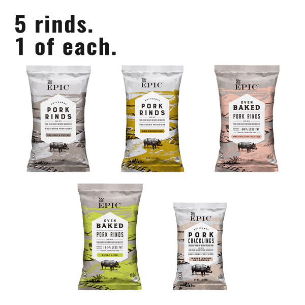 Five bags of pork sins in different varieties on a white background