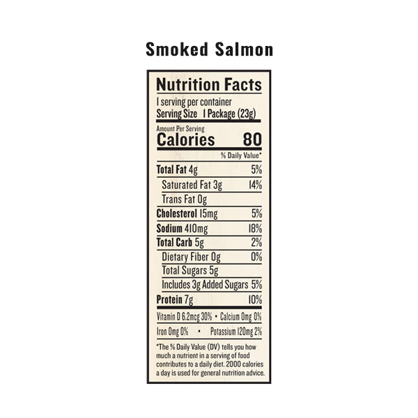 An image of the nutrition facts for EPIC's Smoked Salmon Snack Strip