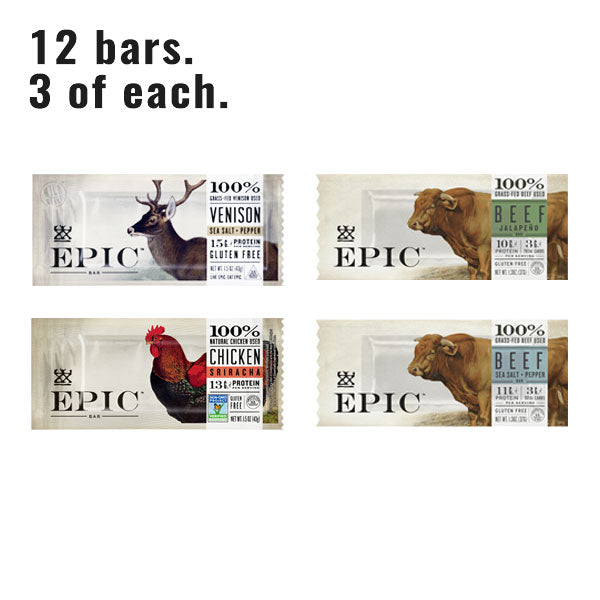 A single Epic Venison bar, Chicken Sriracha bar, Beef Jalapeno bar, and Beef Sea Salt Pepper bar on a white background.