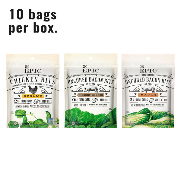 Individual bags of EPIC's Topper Bits on a white background.