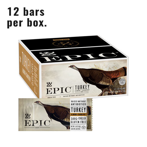 Individual box and unit of Epic's Turkey Almond Cranberry bar on a white background.