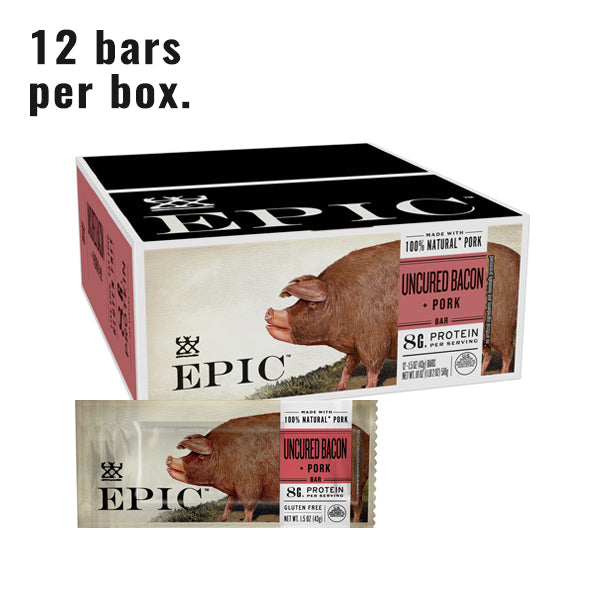 Individual box and unit of Epic's Uncured Bacon Maple bar on a white background.