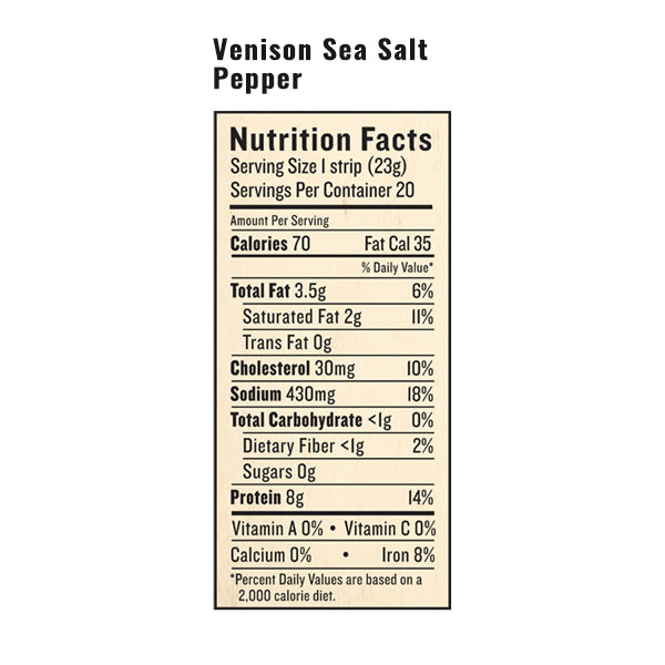 An image of the nutrition facts for EPIC's Venison Sea Salt Pepper Snack Strip