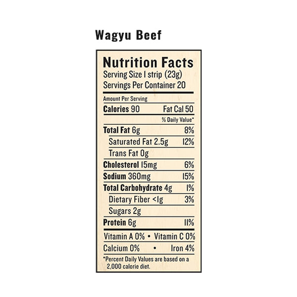 An image of the nutrition facts for EPIC's Wagyu Beef Steak Snack Strip