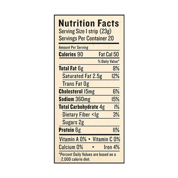 An image of this product's nutrition facts on a white background.