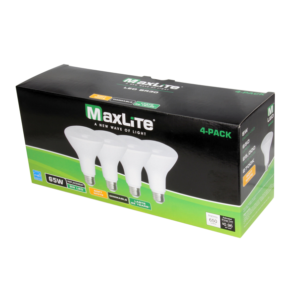 MaxLite Indoor 65 Watt, BR-30 Flood Bulb 4 Pack Box image 21387593096