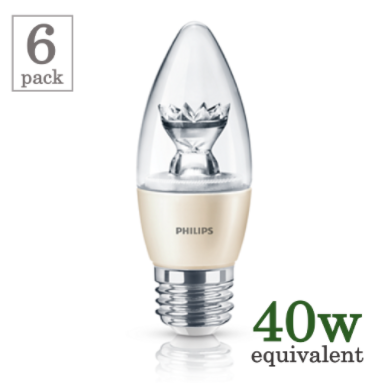 Philips 4.5w Medium Base Blunt Tip LED (6-Pack) image 14826660228