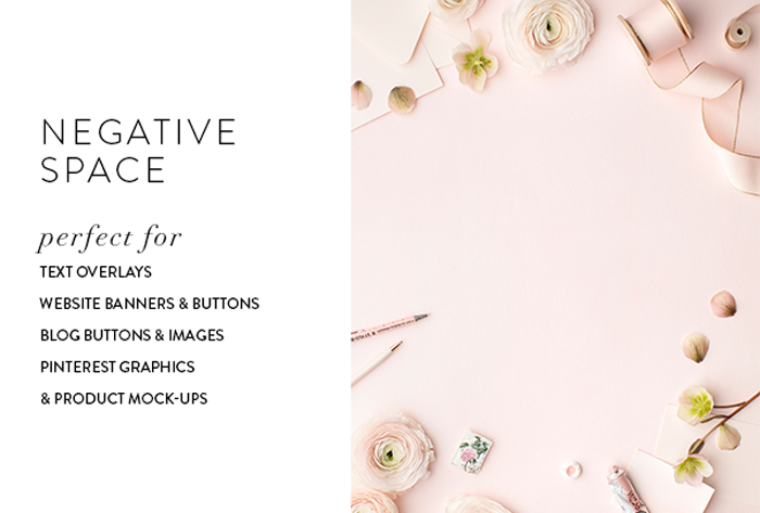 Styled stock images with blank space for text overlays, website banners, website and blog buttons, and product mock-ups