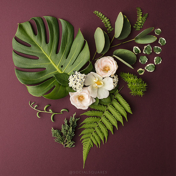 greenery floral styled heart image for instagram from Shay Cochrane_Floral styling