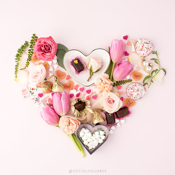 Pink valentines stock image_floral heart with valentines candy_free social media images