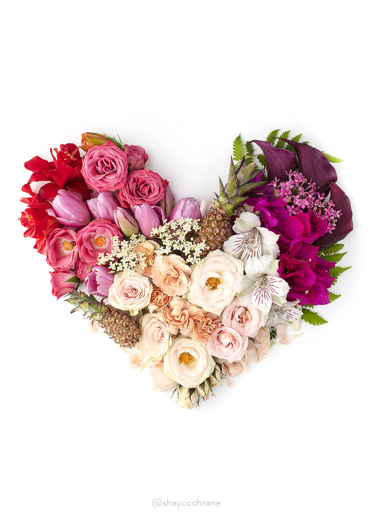 Floral heart styled stock image. Spread the love on social media this Valentine's Day.