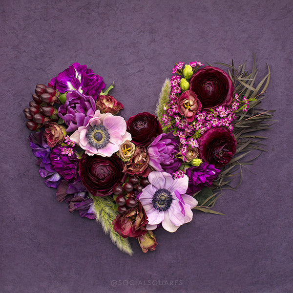 Purple Floral Heart_Pantone Ultra Violet_Free styled stock photography
