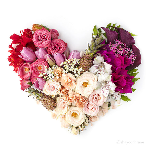 Floral heart styled stock image for Instagram. Spread the love on social media this Valentine's Day.