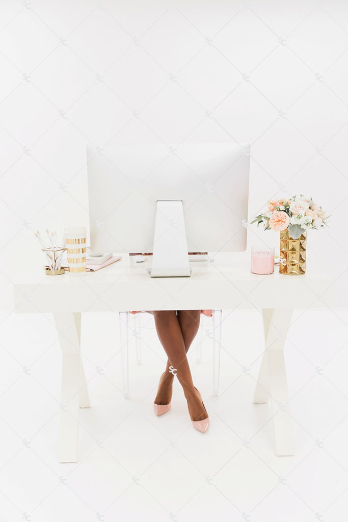 Blush styled stock photography. Woman sitting at desk