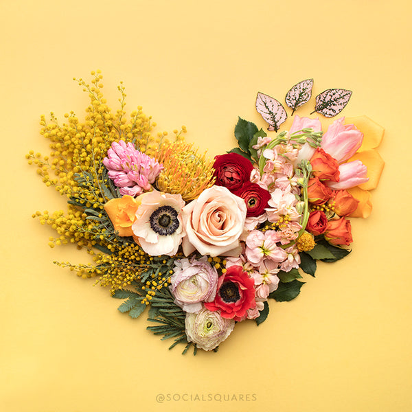 free Styled stock yellow floral heart images by Shay Cochrane for the SC Stockshop.