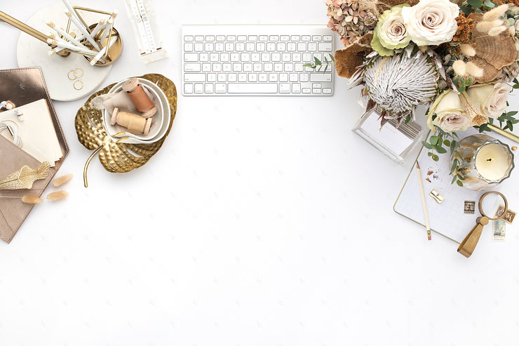 warm neutral styled stock photo with florals and a keyboard