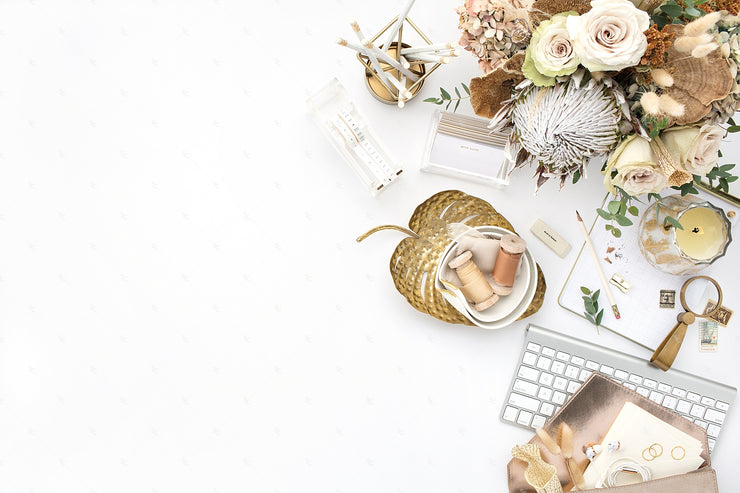 Warm Neutral Desktop Styled Stock Photo with florals, gold accents, and a keyboard