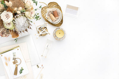 warm neutral styled stock photo with gold accent and neutral florals