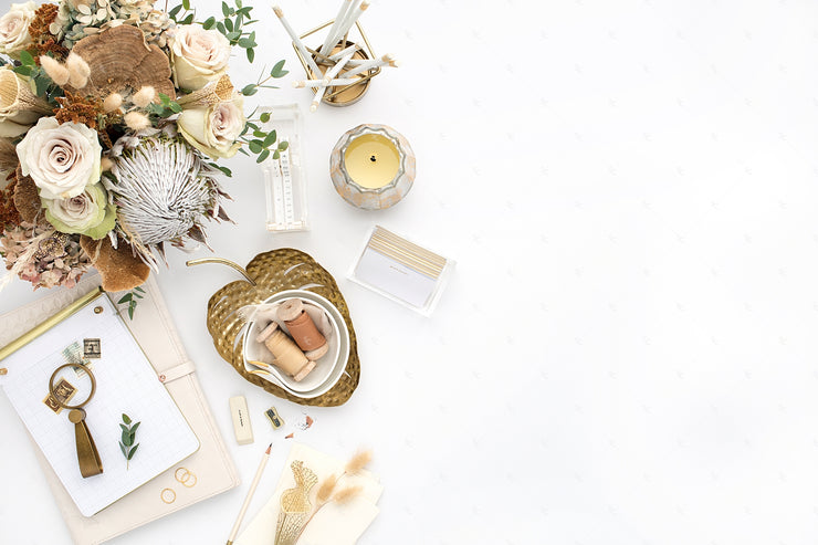 Desktop Styled Stock Photography with florals and gold accents