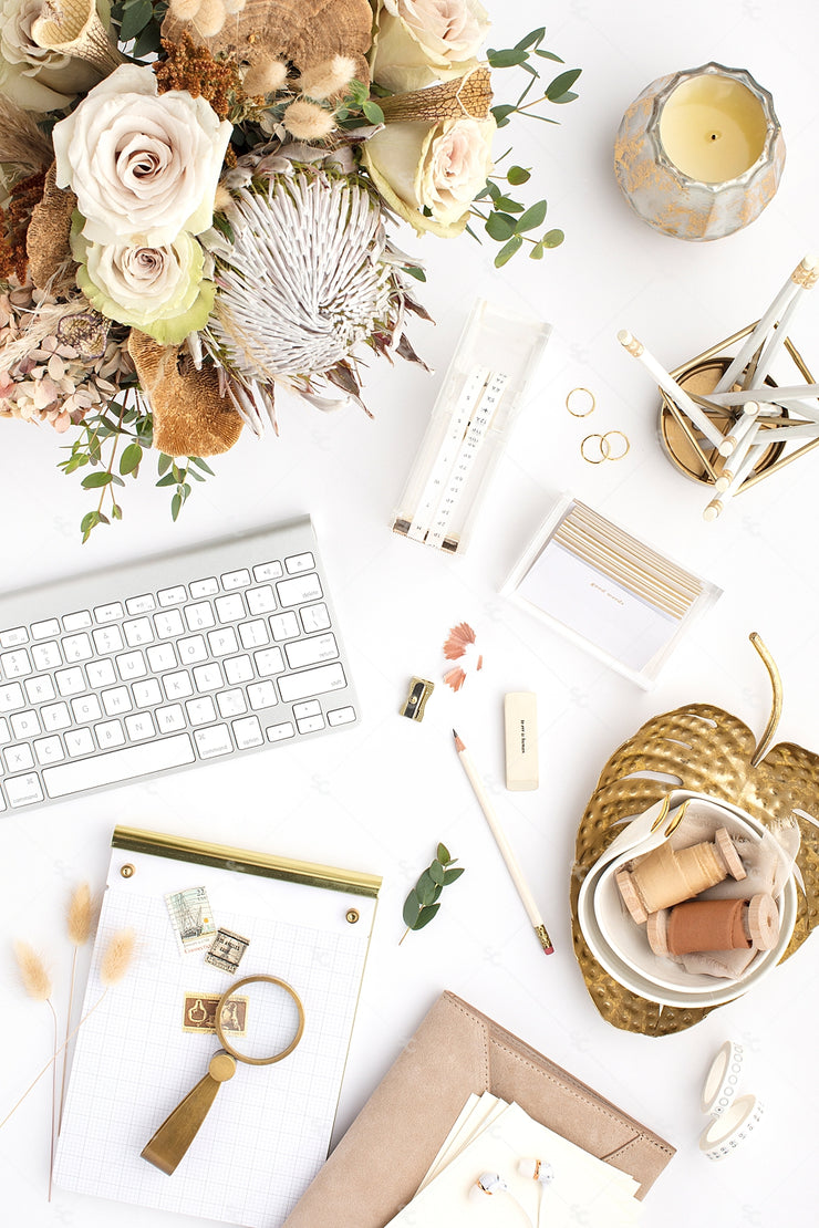 warm neutral Desktop Styled Stock Photography with florals, gold accents, a keyboard and notepad