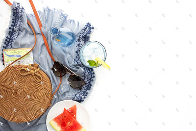 image of summer accessories on white