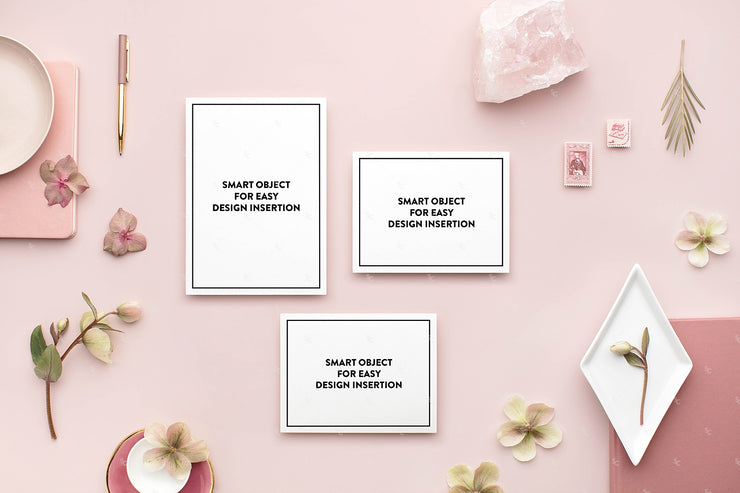 dusty rose horizontal Stationery Styled Stock with an invitation suite