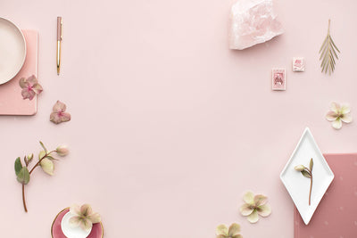 Dusty Rose horizontal stationery styled stock flatlay