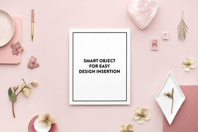 dusty rose stationery styled stock with vertical 8x10 print