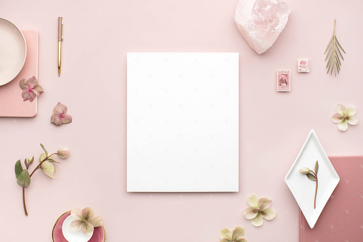 dusty rose stationery styled stock with blank vertical 8x10 print