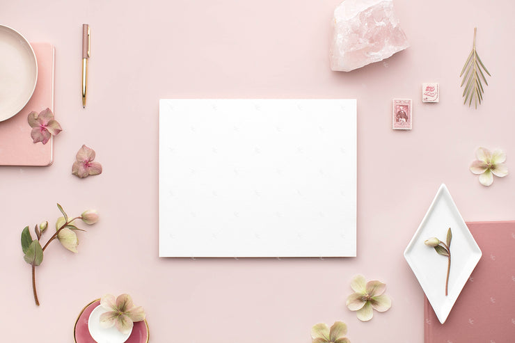 dusty rose stationery styled stock with blank horizontal 8x10 print